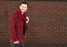 Attractive male model smiling outdoors Stock Photography