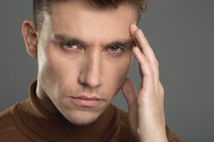 Attractive male person feeling bad royalty free stock images