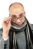 Attractive male wearing a coat and scarf Stock Photos