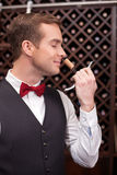Attractive Male Wine Waiter With A Bottle-screw Royalty Free Stock Photo