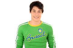 Attractive man with Brasil on his green blouse. Stock Photos