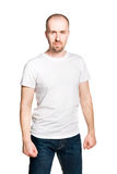 Attractive man with clenched fists stock photography