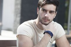 Attractive man  in contemplation Stock Photography