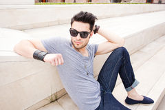 Attractive man dressed casual posing outdoors Stock Photography