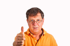 Attractive man giving finger sign Royalty Free Stock Photography