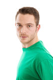 Attractive man with green t-shirt Royalty Free Stock Photos