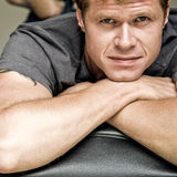Attractive man in grey shirt Royalty Free Stock Photo