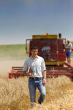 Attractive man at harvesting Royalty Free Stock Images