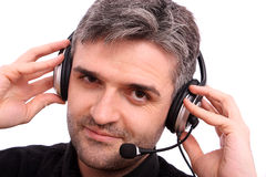 Attractive man with headphone listening music Stock Photography