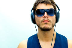 Attractive man with headphones Royalty Free Stock Image
