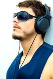 Attractive man with headphones Royalty Free Stock Photography
