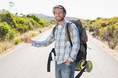Attractive man hitch hiking on rural road Royalty Free Stock Photo