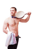 Attractive man holding a towel and frying pan Stock Images