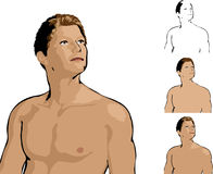 Attractive Man Illustration. Illustration of an attractive man standing without shirt Royalty Free Stock Photo