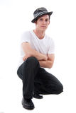Attractive Man Kneeling Down Royalty Free Stock Image