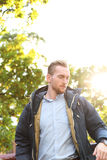 Attractive man with lens flare Royalty Free Stock Images