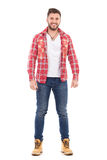 An attractive man in lumberjack shirt Stock Photos