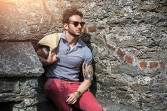 Attractive man outdoor in old European castle Royalty Free Stock Photo