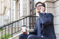 Attractive man on phone Royalty Free Stock Images