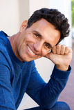 Attractive man smiling. Close up portrait of attractive man smiling Stock Photo