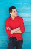 Attractive man smiling outdoors. Portrait of an attractive man smiling outdoors Stock Photography