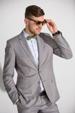 Attractive man in a suit and tie butterfly dress Royalty Free Stock Photos