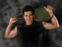 Attractive Man With Tennis Racket Royalty Free Stock Photography