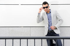 Attractive man with tinted sunglasses Stock Photos