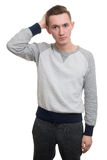 Attractive man touching his hair Stock Photo