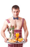 Attractive man with a tray Royalty Free Stock Photos