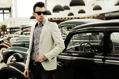 Attractive man in urban background Stock Images