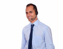 Attractive man using headphone with microphone Royalty Free Stock Images