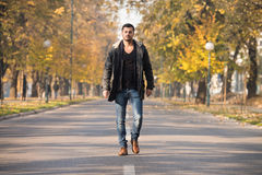 Attractive Man Walking In Autumn Forest. Young Man Walking In Forest Through The Woods Outside During Autumn Stock Image