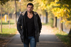 Attractive Man Walking In Autumn Forest. Young Man Walking In Forest Through The Woods Outside During Autumn Royalty Free Stock Photography