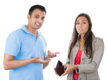 Attractive man and woman couple showing empty wallet Royalty Free Stock Photography