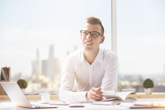 Attractive man working on project stock image