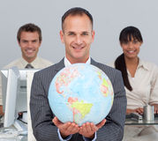 Attractive manager showing South America Royalty Free Stock Images