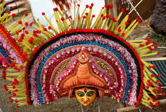Attractive mask of god and goddess. Dancers wear masks, bright costumes and dance on particular occasion Stock Photos
