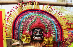 Attractive mask of god and goddess. Dancers wear masks, bright costumes and dance on particular occasion Stock Photo