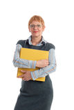 Attractive mature businesswoman. Portrait of a beautiful mature business woman holding folders stock photos