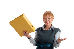 Attractive mature businesswoman. Portrait of a beautiful mature business woman holding yellow binder Stock Photography