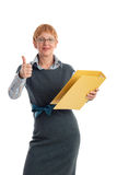 Attractive mature businesswoman. Portrait of a beautiful mature business woman gesturing success royalty free stock images