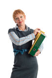 Attractive mature businesswoman. Portrait of a beautiful mature business woman holding binders Stock Photography