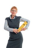 Attractive mature businesswoman. Portrait of a beautiful mature business woman holding yellow binder Stock Photos
