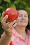 Attractive mature gardener hol. Attractive gardener holding an apple.  Healthy senior lifestyle concept Royalty Free Stock Photos