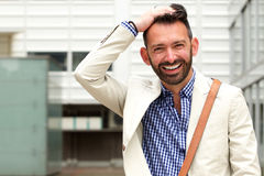 Attractive mature man standing outdoor Royalty Free Stock Photos