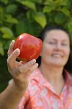 Attractive mature woman. Attractive retired woman showing off a prize apple from her garden.  Healthy senior lifestyle concept Royalty Free Stock Photography