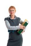 Attractive mature woman. Portrait of a beautiful mature business woman holding folders stock photo