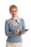 Attractive mature woman. Using handheld stock photos