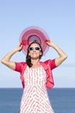 Attractive mature woman happy ocean  Stock Photos